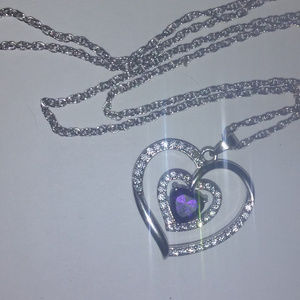 Heart necklace purple stone clear crystal stamped
